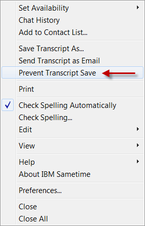 Sametime - prevent save 1